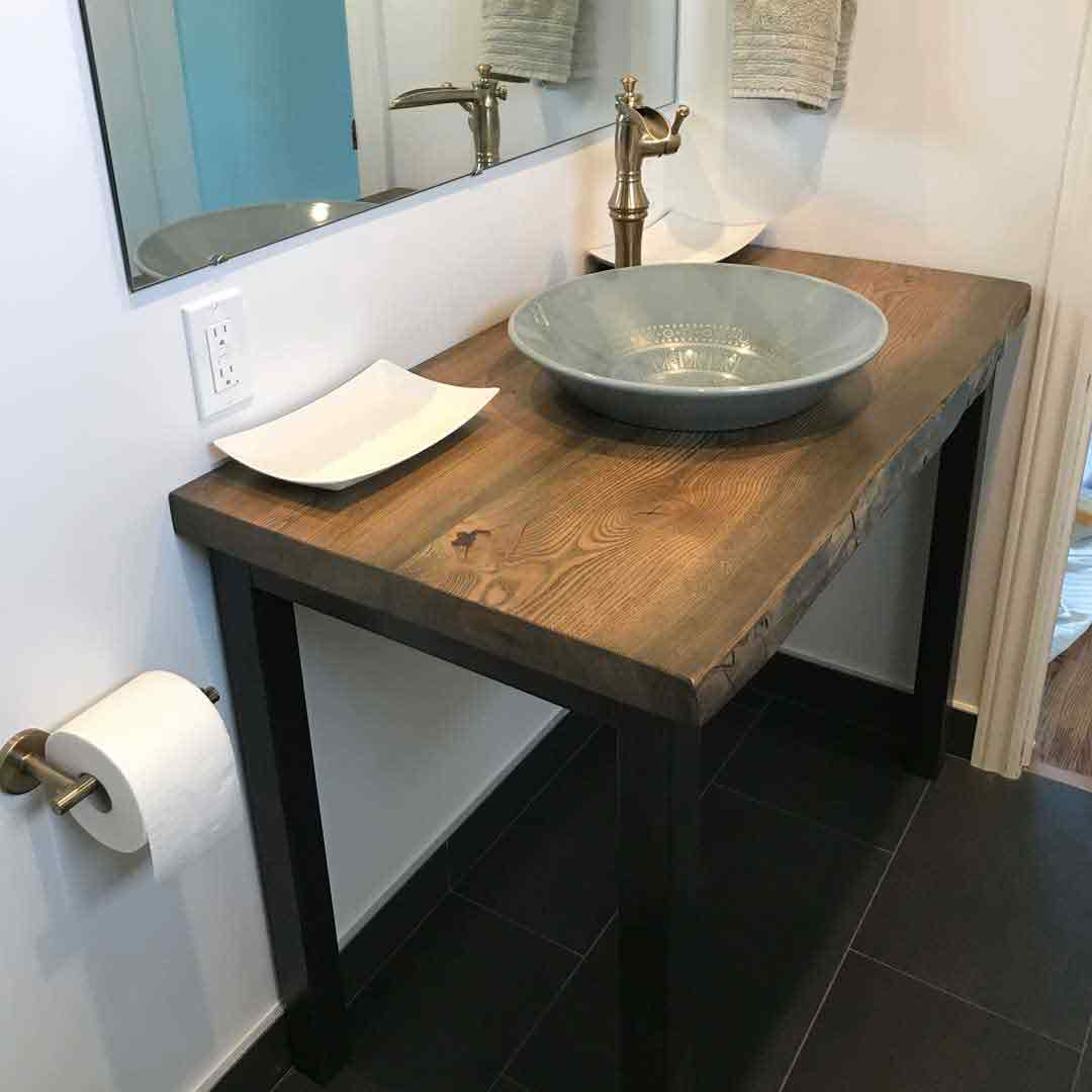 Ash vanity made with live edge